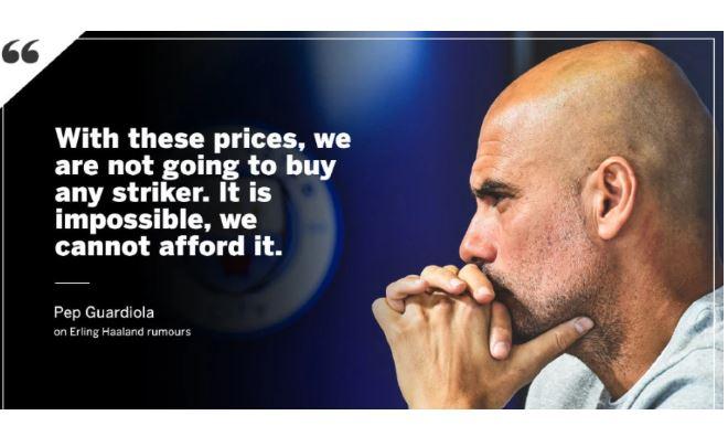 【转会市场】曼城是否引进哈兰德?瓜迪奥拉:我们没钱买不起